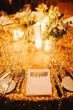 glam gold wedding, photo by Ryan Flynn Photography http://ruffledblog.com/palace-ballroom-wedding #weddingideas #tablescape #reception