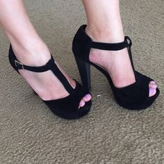 "Faux suede platform shoes Brand new. Worn only to be modeled. True size 7. Approx. 5"" heels. Black Shoes Platforms"