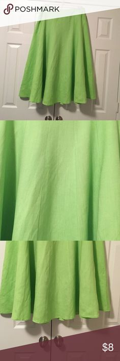 Pretty linen/rayon blend lime green skirt! Pretty linen/rayon blend lime green skirt! Lined and flares at bottom. Side zipper. Great for Spring or Summer! Skirts Midi