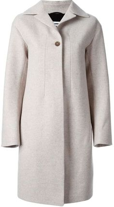 $1,482, Grey Coat: Jil Sander One Button Classic Coat. Sold by farfetch.com. Click for more info: https://lookastic.com/women/shop_items/154928/redirect