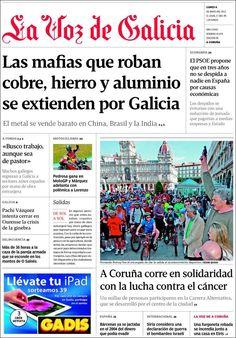Los Titulares y Portadas de Noticias Destacadas Españolas del 6 de Mayo de 2013 del Diario La Voz de Galicia ¿Que le parecio esta Portada de este Diario Español?