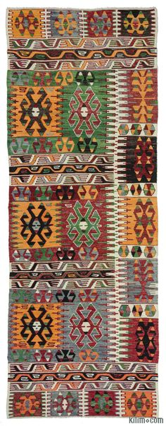 Vintage Cal kilim runner rug hand-woven in 1960's and in very good condition. Cal is a village of Denizli in the Aegean region, Turkey.