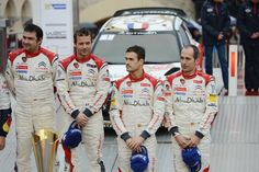(L to R) Daniel Elena of Monaco and Sebastien Loeb of France (first place), Daniel Sordo of Spain and Carlos Del Barrio of Spain (third place) celebrate thier positions on the final ramp during day five of the WRC Monte-Carlo rally on January 20 , 2013 in Montecarlo , Monaco.