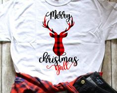 Buffalo Plaid Deer Merry Christmas Yall Shirt   IN STOCK   Deer head with antlers   Merry Christmas Yall