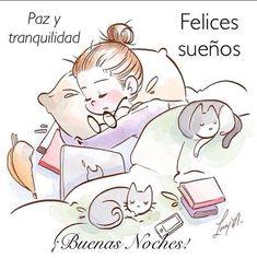 Good Night Sweet Dreams, Good Night Moon, Night Night, Crazy Cat Lady, Crazy Cats, Anime Art Girl, Cute Illustration, I Love Cats, Cute Cartoon