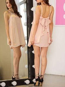 robe jabot avec nœuds -abricot
