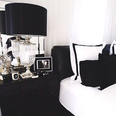 Stunning Black Bedroom Color Schemes Ideas - Page 15 of 36 Decor, Interior, White Decor, Home Decor, Bedroom Decor, Bedroom Colors, Interior Design, Bedroom Color Schemes, Black White Bedrooms