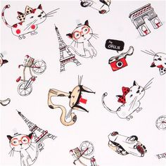 white Paris cat fabric by Timeless Treasures 1
