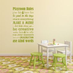 Hey, I found this really awesome Etsy listing at http://www.etsy.com/listing/118016980/playroom-rules-vinyl-decal-play-room