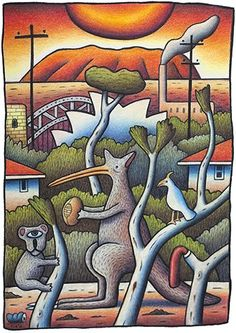 Scenery by Reg Mombassa - Australia Day Art. Fulfilling my Aussie nostalgia Australian Painting, Australian Artists, National Art School, Surf Design, Lyrics And Chords, Art For Art Sake, Sculpture, Aboriginal Art, Whimsical Art