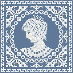 Protrait of a lady (1)   Chart for cross stitch or filet crochet.
