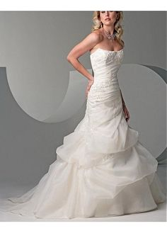 LACE PARTY BALL EVENING GOWN FORMAL PROM ORGANZA SATIN A-LINE STRAPLESS WEDDING DRESS BEADED LACE APPLIQUES