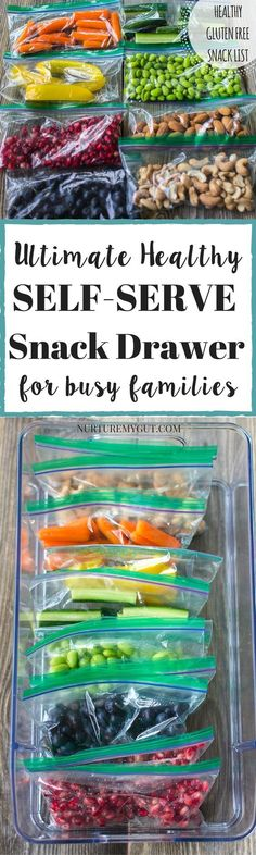 Ultimate Healthy Self-Serve Snack Drawer for busy families.  Prep this healthy snack bin in 20 minutes of less!  List of healthy snacks for kids: fruits, veggies, proteins and whole grains.  Tons of ideas for healthy gluten free snacks for kids!
