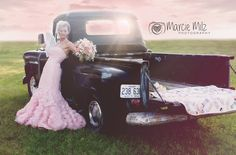 Marcie Milz Photography Pink wedding dress, wedding photo, old truck wedding photo, rustic wedding, vintage wedding, country wedding