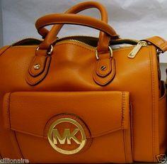 $260.00 MICHAEL KORS ORANGE MARGO LEATHER SATCHEL + FREE GIFT