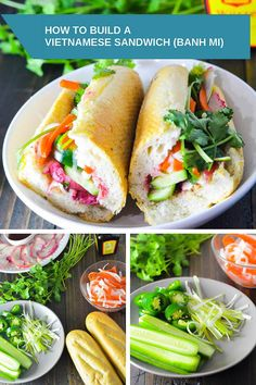 How to build a Vietnamese Sandwich (Banh Mi) - A Taste of Joy and Love Vietnamese Grilled Pork, Vietnamese Sandwich, Vietnamese Recipes, Asian Recipes, Healthy Recipes, Vietnamese Banh Mi, Banh Mi Sandwich, Sandwich Bar, Indonesian Recipes