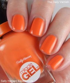 It's not exactly a secret that I love orange nail polish. I've been rocking essie Color Binge constantly this fall. That is until Sally Hansen Electra-Cute came into my life. Sally Hansen, Nail Polish Colors, Mani Pedi, Nails Inspiration, Fun Nails, Nail Art Designs, Swatch, Finger, Make Up