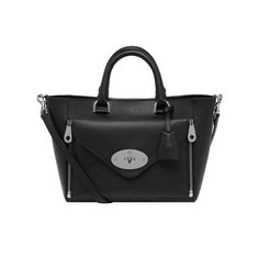 New Willow Colours - Mulberry - Small Willow Tote in Black Silky Classic Calf  With Nickel