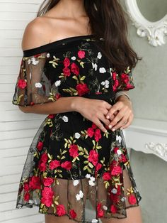 Shop Floral Embroidery Mesh Off Shoulder Mini Dress right now, get great deals at joyshoetique Girls Fashion Clothes, Teen Fashion Outfits, Girly Outfits, Cute Casual Outfits, Pretty Outfits, Stylish Outfits, Beautiful Outfits, Dress Outfits, Casual Dresses
