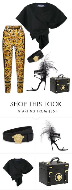 """""""V I N T A G E '92"""" by molauren ❤ liked on Polyvore featuring Versace, Yves Saint Laurent and Jacquemus"""