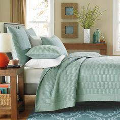 King $129 Real Simple® Dune Coverlet in Sea Glass from Bed Bath and Beyond. Meh.