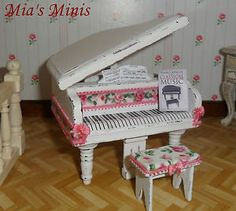 Shabby Doll House | ... SHABBY CHIC ~ ANTIQUE ROSE BABY GRAND PIANO & STOOL ~ dolls house/shop