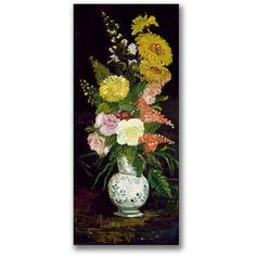 Trademark Fine Art Vase of Flowers Canvas Wall Art by Paul Cezanne, Size: 12 x 24, Multicolor