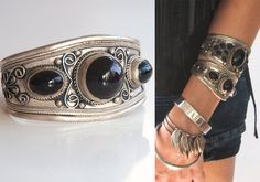 Nepalese Gypsy Silver Onyx Wide Cuff Bracelet | Tibetan Indian Boho Chunky Tribal Jewelry Nepal Ethnic Silver and Black Thick Cuff Bracelet