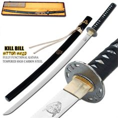 This is the Hattori Hanzo Demon sword you have been waiting for Fully functional and accurate to the movie Hand forged full tang Demon sword from Kill Bill. The blade, made of 1060 high carbon steel, sports the genuine insignia on the tang. The Kill Bill Demon Emblem is engraved on one side of the blade. #killbillhandmadehanzodemon1060carbonsteelsword