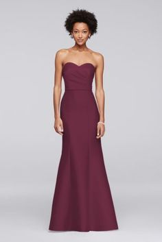 Structured silky mikado evokes Hollywood glamour from the strapless pleated bodice to the fit-to-flare skirt of this long bridesmaid dress.  Polyester  Back zipper; fully lined  Dry clean  Imported  Also available in extra length