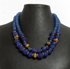 Blue recycled glass bead necklace  African bead by pikaycreations