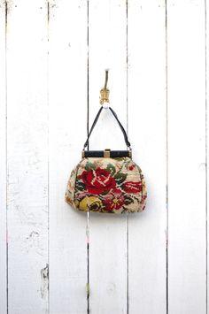 Vintage 50's 60's Large Needlepoint Handbag Purse.