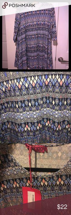 Boohoo Swing dress Beautiful, fun pattern! 3/4 length sleeve! Lightweight! Boohoo Dresses Mini
