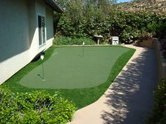 Backyard Putting Green in Rancho Bernardo, CA Backyard Putting Green, Grass, Golf Courses, Sidewalk, Backyard Designs, Ranch, Backyard Patio Designs, Backyard Deck Designs, Grasses