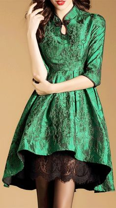 High Low Mandarin Collar Jacquard Dress