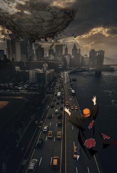 Akatsuki pain invation in newyork Madara Wallpaper, Naruto Wallpaper Iphone, Wallpapers Naruto, Cool Anime Wallpapers, Wallpaper Naruto Shippuden, Animes Wallpapers, Cool Anime Pictures, Naruto Pictures, Naruto Shippuden Sasuke