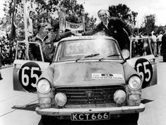 "1963 Safari: Zbigniew ""Nick"" Nowicki and Paddy Cliff celebrating win in their Peugeot only 7 cars finished Vintage Racing, Vintage Cars, Sport En France, Automobile, African Countries, Rally Car, African Safari, East Africa, Tribal Prints"