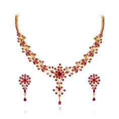 22 KT Gold Ruby Necklace with Earrings Set Gold Ruby Necklace, Gold Necklace Simple, Gold Jewelry Simple, Ruby Jewelry, Diamond Necklaces, Jewelry Necklaces, Jewelry Showcases, Gold Jewellery Design, Beautiful