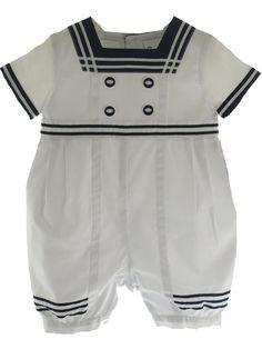 Sarah Louise Infant Boys Navy & White Sailor Romper with Cap