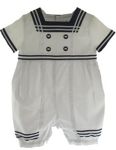 Sarah Louise Infant Boys Navy & White Sailor Romper with Cap