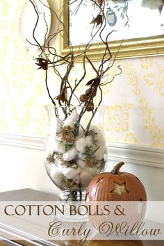 Cotton Bolls and Curly Willow ~ natural elements make decorating for fall easy! Holidays Halloween, Halloween Decorations, Christmas Decorations, Christmas Diy, Seasonal Decor, Fall Decor, Holiday Decor, Porch Decorating, Decorating Ideas