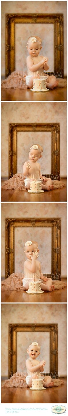 Cake Smash Photo Session Inspiration First Birthday Frame Pink Fabric Headband Small Cake Studio Lifestyle Location Kirra Photography