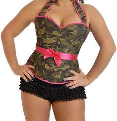 Camouflage Military Halter Corset - Plus Size Available