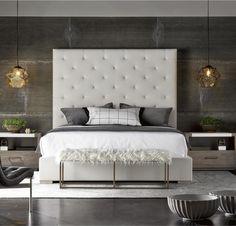 Modern Box-Tufted Panel Upholstered Fabric Platform King Bed (https://www.zinhome.com/modern-box-tufted-panel-upholstered-fabric-platform-king-bed/) #ModernBedroomFurniture