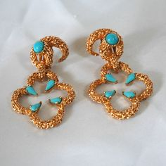 Vintage Panetta Earrings, Brutalist Wrap-Around Design, Door Knocker Hinge, Unusual Textured Gold Nugget, Faux Turquoise Accents, Like New by VWayne on Etsy