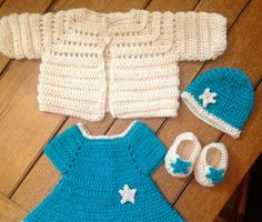 Baby Girl Turquoise Dress Set Cream Jacket Booties Shoes Hat Easter Outfit Star 3-6 months Crocheted One-Of-A-Kind READY To SHIP Baby Gift