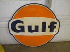 Old Gulf Gas Station Motor Oil Pump Garage SST Heavy Tin Original Sign | eBay