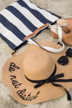 7991e69af6f Allie Do Not Disturb Straw Hat Beach Bag Essentials