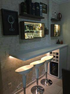 Mini Bars, Diy Bar, Canto Bar, Bar Sala, Coffee Bar Home, Home Bar Decor, Home Bar Designs, Small Apartment Decorating, Wall Bar