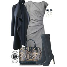 Cardigan, Dress and Boots by averbeek, via Polyvore